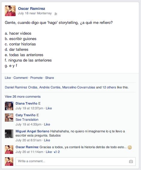 Pregunta en facebook